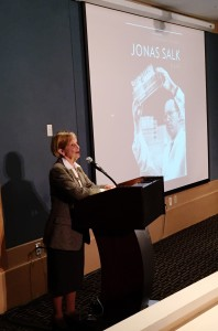 Charlotte DeCroes Jacobs speaking during the event; courtesy of Spencer Trask
